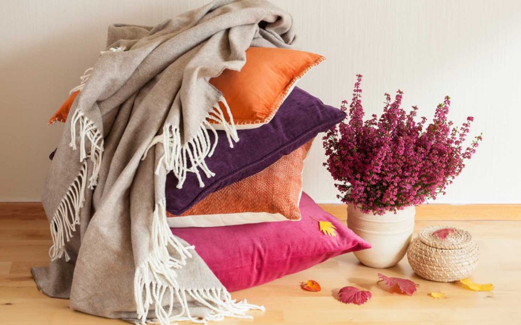 use throw pillows to add colour to your decor
